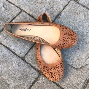 Lucky Brand Leather Tan Eastly Laser Cut Flats